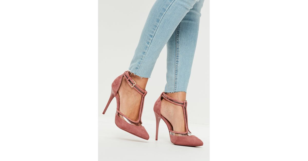 3404cda3748 Lyst - Missguided Pink Clear T Strap Heeled Shoes in Pink