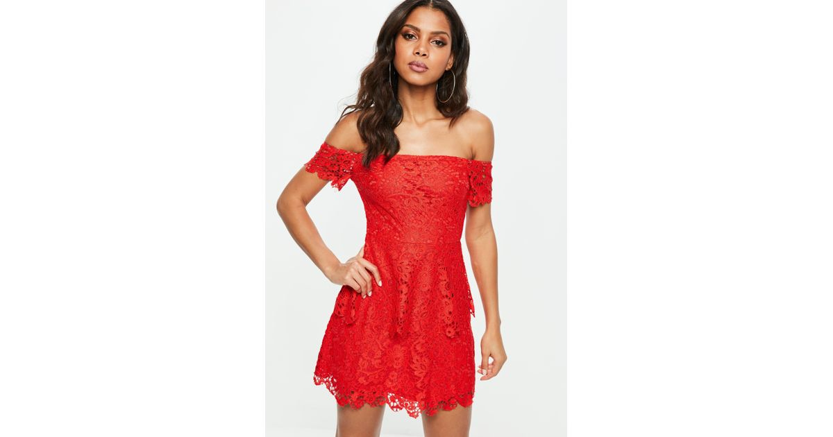 9432a62e52fe Missguided Red Lace Bardot Double Layer Skater Dress in Red - Lyst