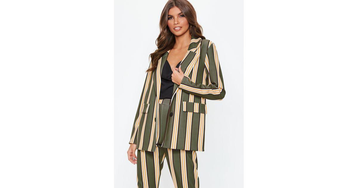 abd6e8091a Lyst - Missguided Khaki Striped Blazer in Natural