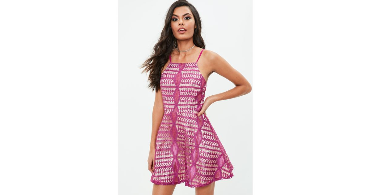 2813cbd07a Lyst - Missguided Purple Lace Skater Dress in Purple