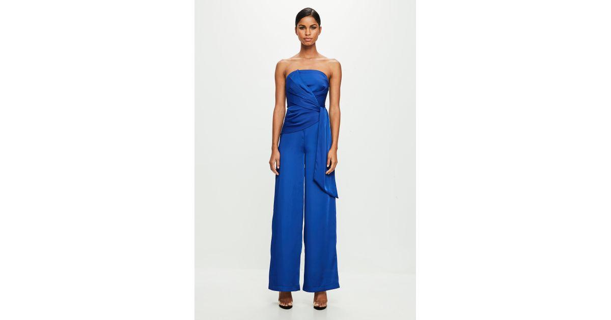 4b722141a94c Lyst - Missguided Peace + Love Blue Twist Front Bandeau Jumpsuit in Blue