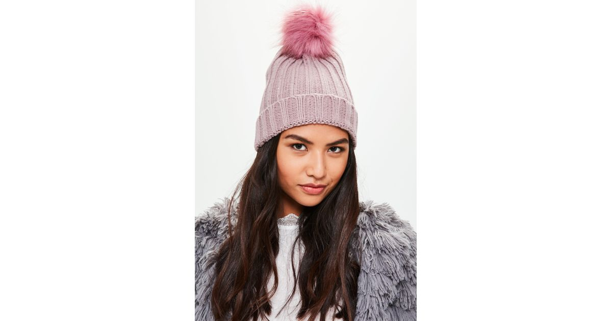 eba9ab92456 Missguided Pink Metallic Knit Faux Fur Beanie in Pink - Lyst