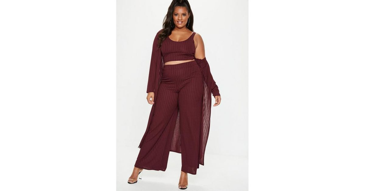 39d927f010 Missguided Plus Size Burgundy Ribbed Longline Cardigan in Purple - Lyst