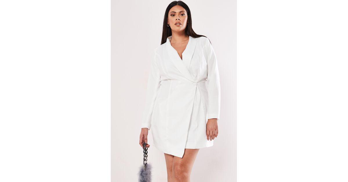 Missguided Plus Size White Asymmetric Blazer Dress