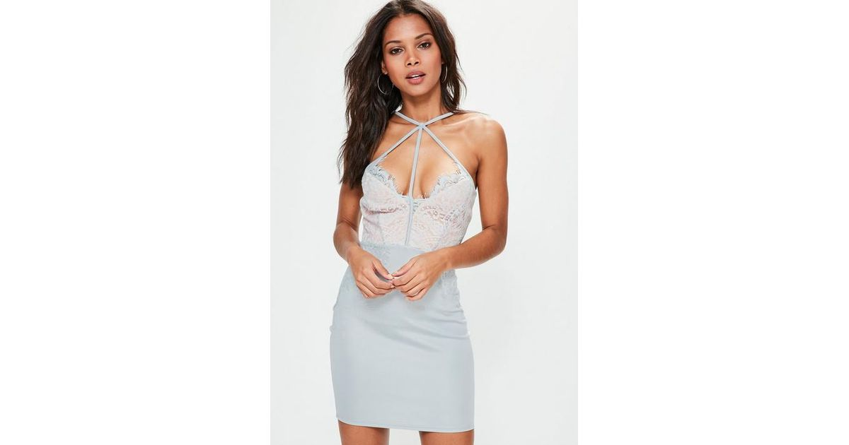 Missguided Gray Grey Harness Lace Bodycon Dress