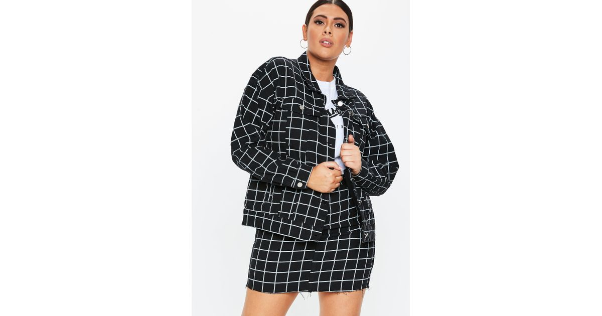 766836c308366 Lyst - Missguided Plus Size Black Co Ord Grid Print Denim Jacket in Black