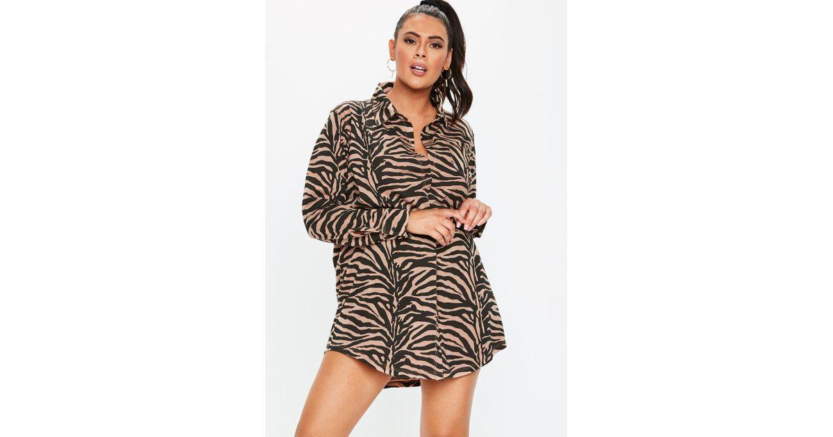 1e03d721ac Lyst - Missguided Plus Size Rust Zebra Print Shirt Dress