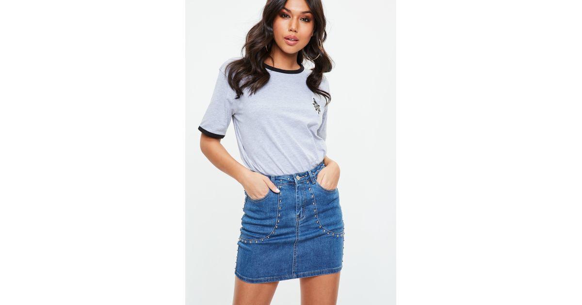 f0e6474bf Missguided Blue Denim Stud Pocket Mini Skirt in Blue - Lyst