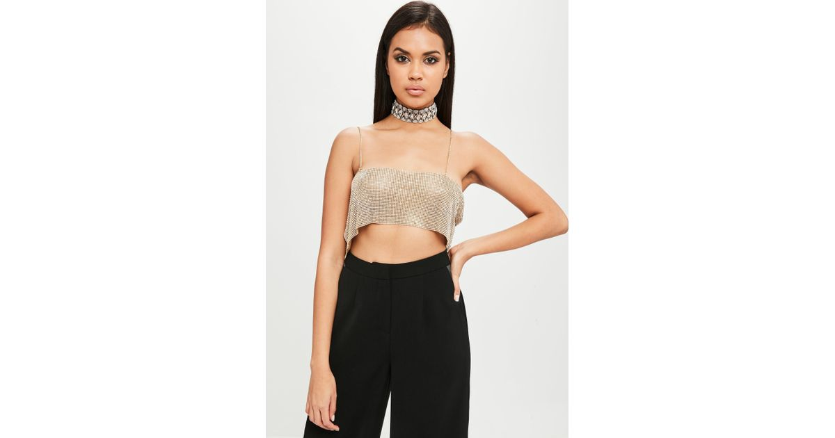 8932a4c4576e96 Lyst - Missguided Carli Bybel X Gold Chain Mail Bandeau Bralet in Metallic
