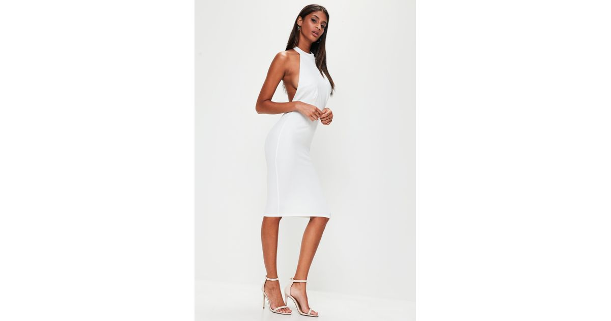 456f4dfca8a3 Missguided White Halterneck Backless Midi Dress in White - Lyst