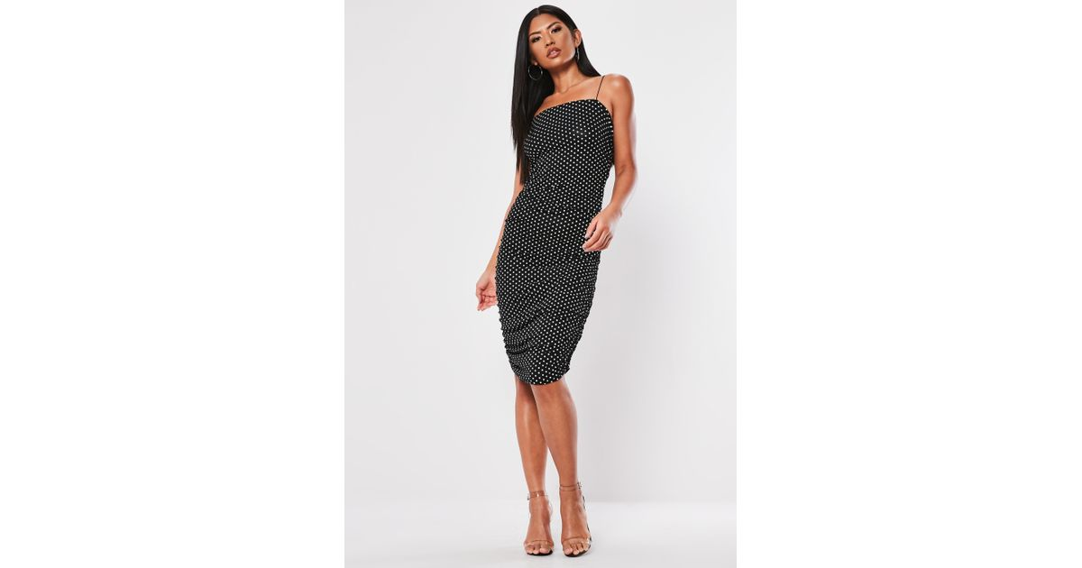 a38ca524d5 Lyst - Missguided Black Strappy Polka Dot Ruched Midi Dress in Black