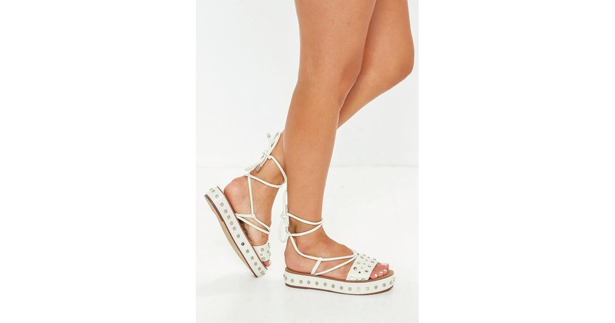 44cd77347b8 Missguided White Flatform Studded Ankle Tie Sandals in White - Lyst