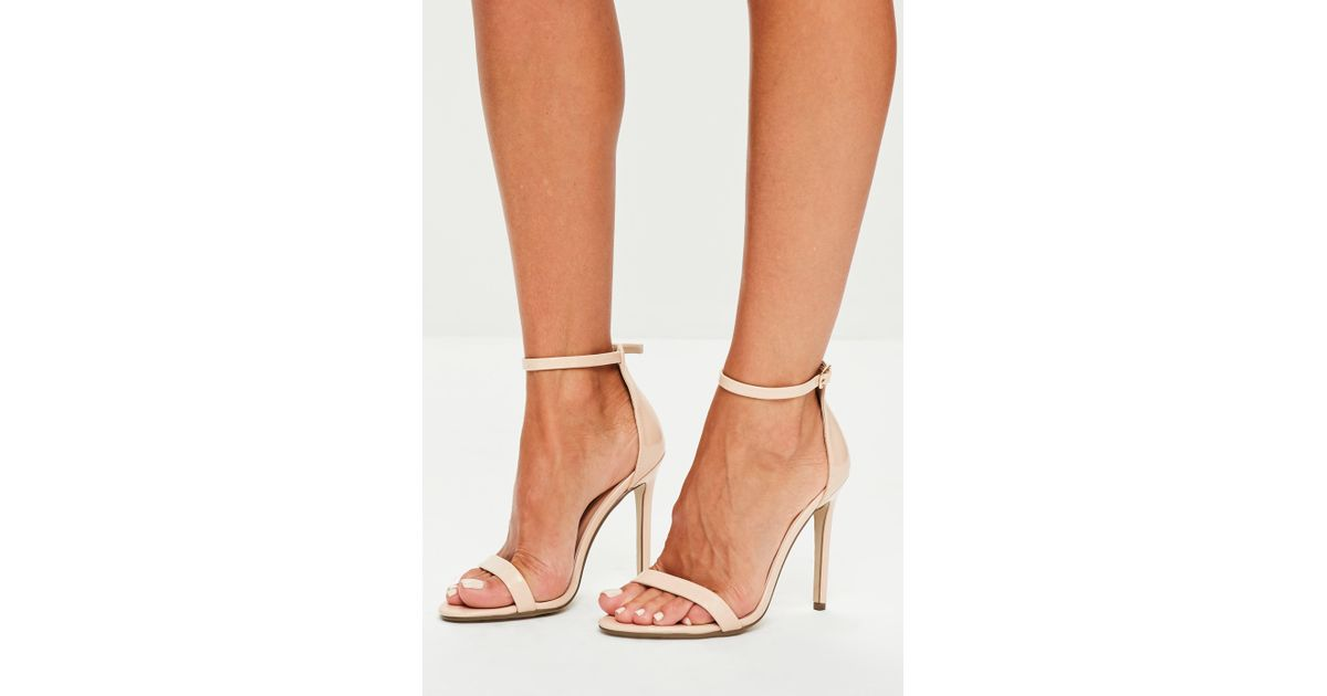 Missguided Nude Patent Ankle Strap Heels in Natural - Lyst