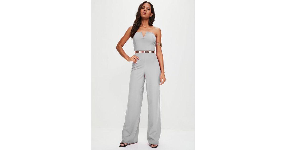 8e202d2891e6 Missguided - Gray Grey V Bandeau Wide Leg Jumpsuit - Lyst