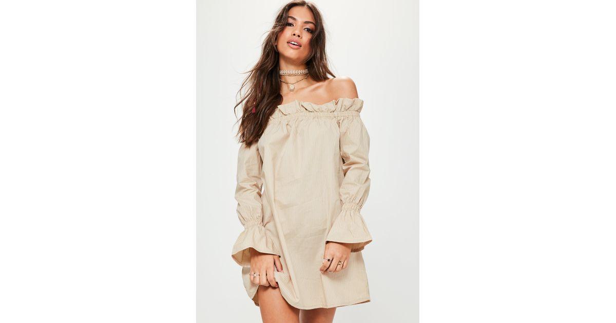 d68723d301d6 Missguided Beige Stripe Scrunch Bardot Shift Dress in Natural - Lyst