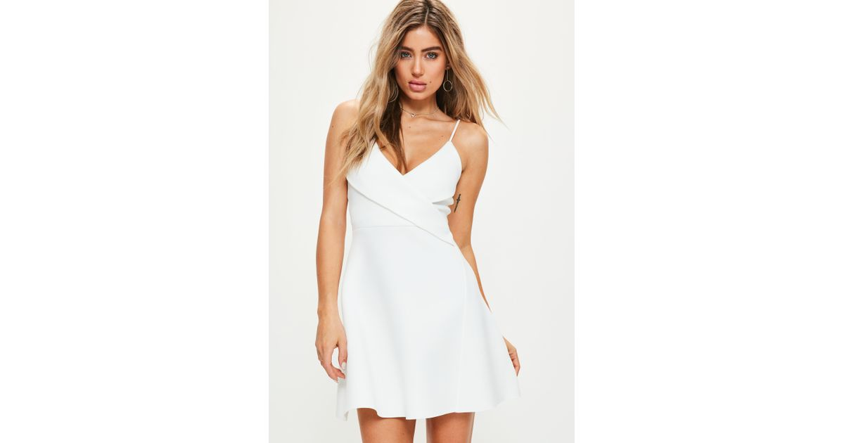 99f21706ad82 Missguided White Strappy Wrap Scuba Skater Dress in White - Lyst