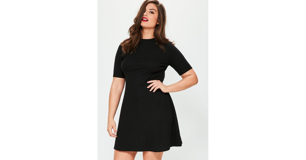 Lyst - Missguided Plus Size Black Ribbed Basic Swing Dress in Black