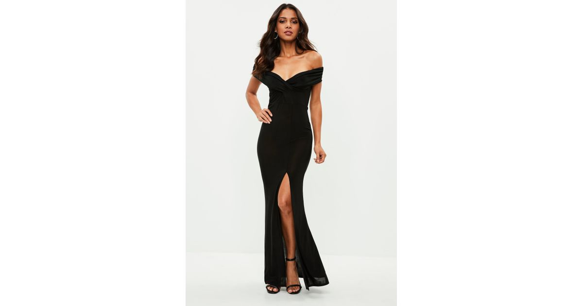 Lyst - Missguided Black Slinky Bardot Wrap Front Split Maxi Dress in Black 56519c1d9