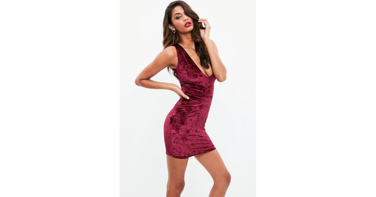 7542083944 Lyst - Missguided Red Velvet Plunge Mini Dress in Red