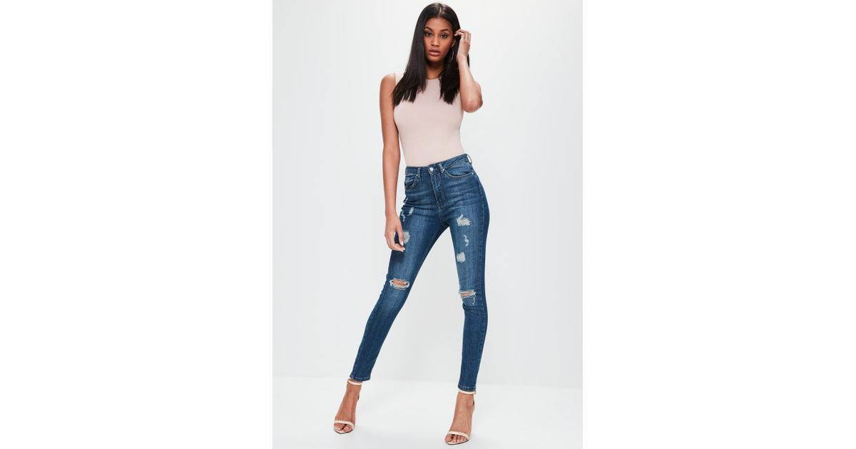 7adbb9b626bb0f Lyst - Missguided Sinner Highwaisted Ripped Skinny Jeans Vintage Blue in  Blue