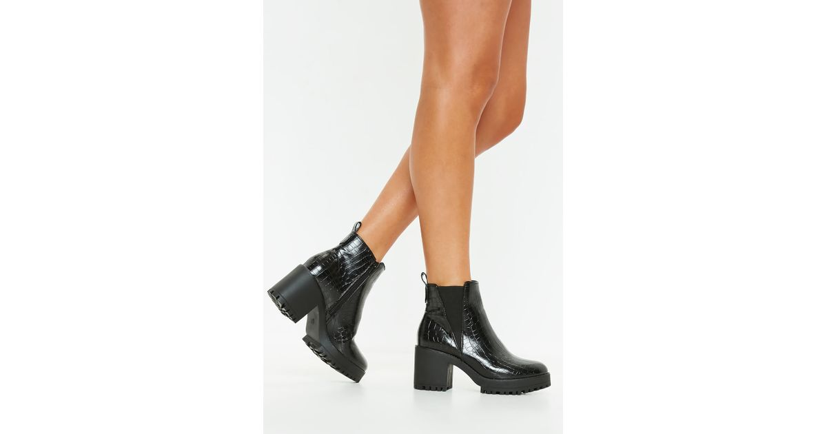 2673b6ec0e2 Missguided - Black Croc Chunky Chelsea Ankle Boot - Lyst