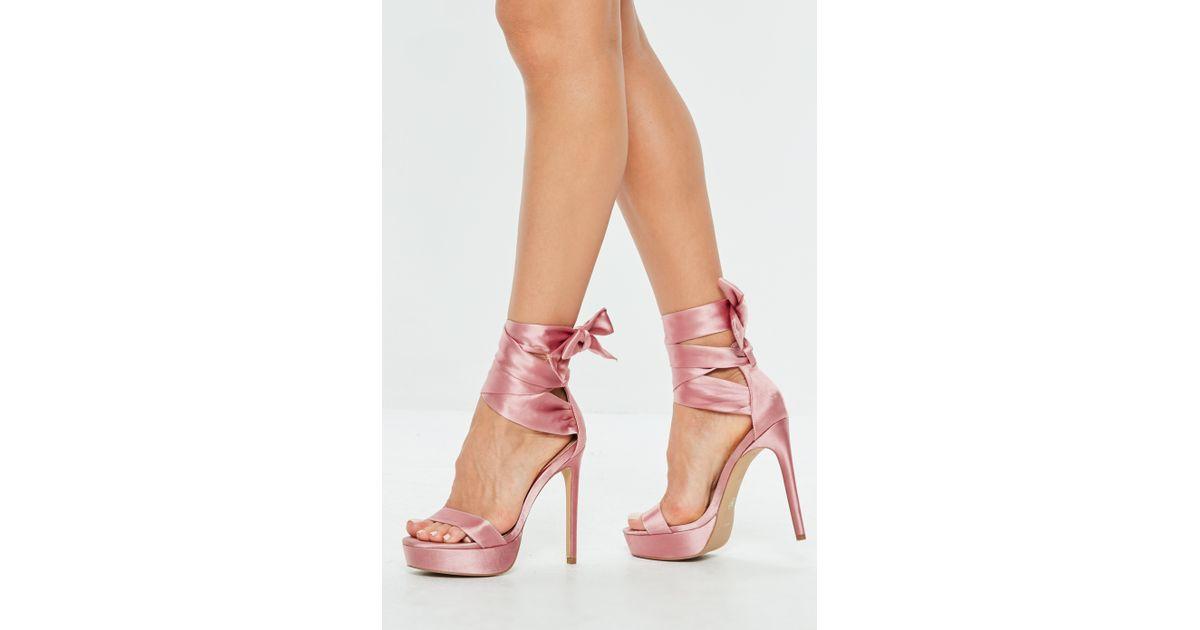 Missguided Pink Satin Tie Platform