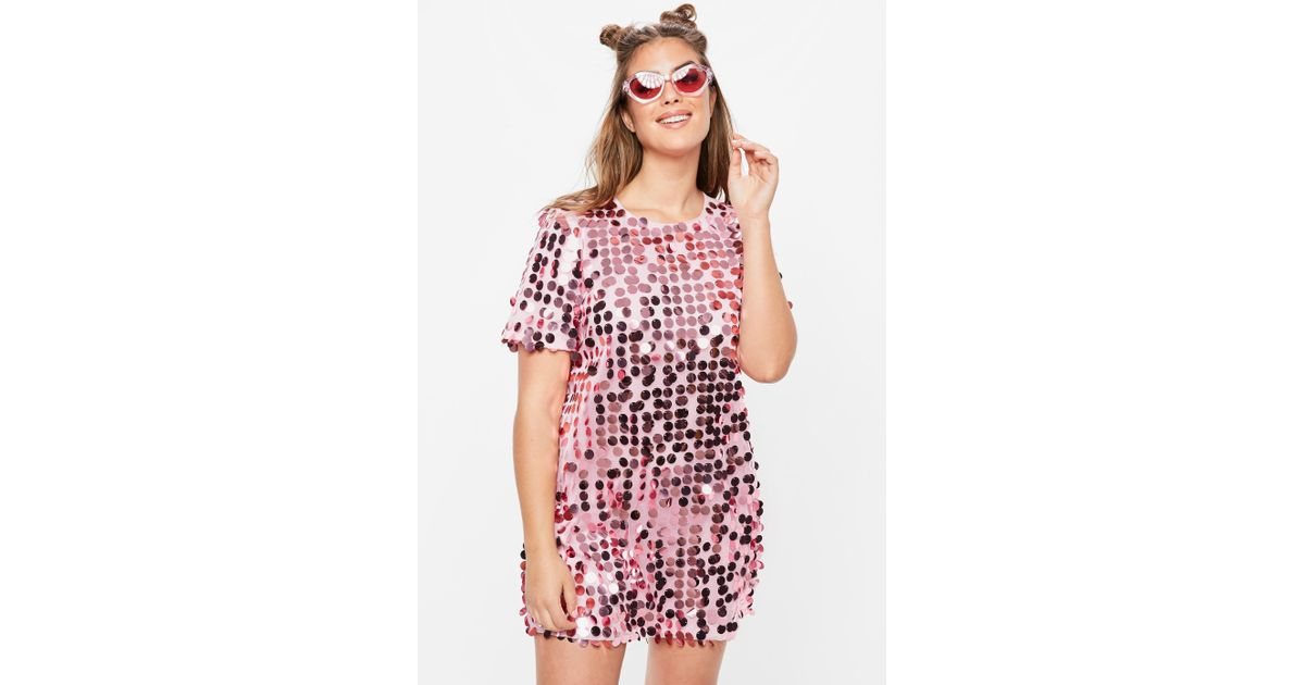 aa4b3f697b4fd3 ... tops curves curvy women  missguided plus size pink sequin t shirt dress  in pink lyst ...