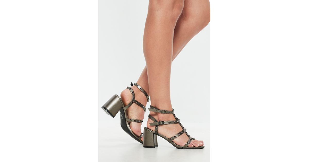 fe70c8511ab Lyst - Missguided Grey Metallic Studded Flared Heel Gladiator Sandals in  Gray