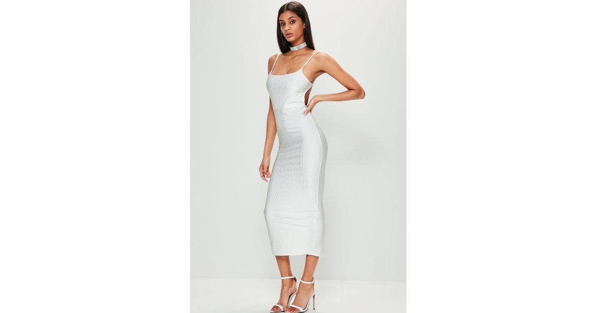 caf450129143 Missguided White Ribbed Backless Ruched Back Midi Dress in White - Lyst