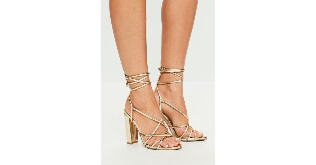 Missguided Gold Faux Leather Strappy