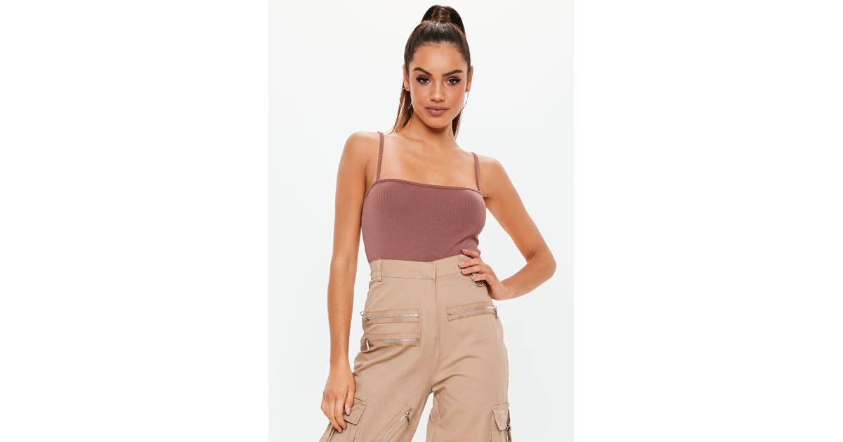 2008f3a72bf93 Lyst - Missguided Mocha Straight Neck Ribbed Bodysuit
