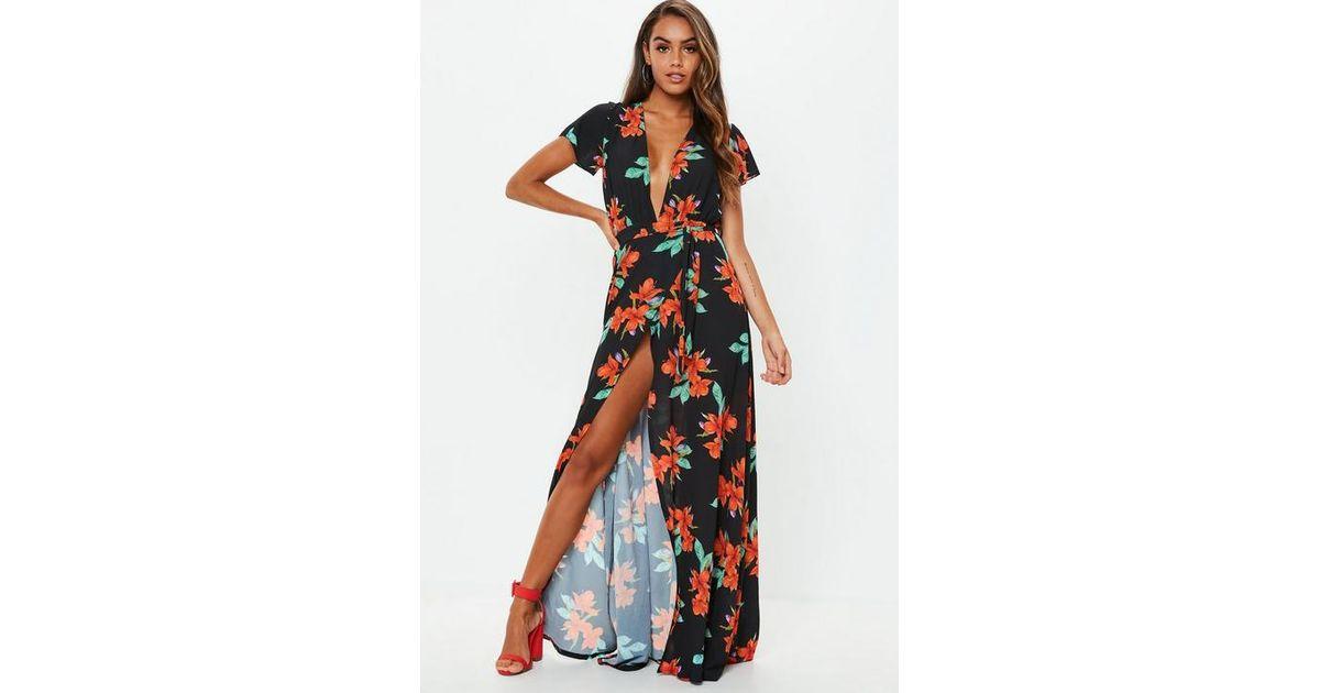 1dc87d0f1d81a Missguided - Black Plunge Wrap Floral Maxi Dress - Lyst