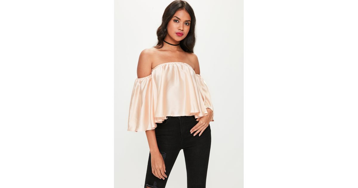 91e09311566 Missguided Nude Satin Bardot Top in Natural - Lyst
