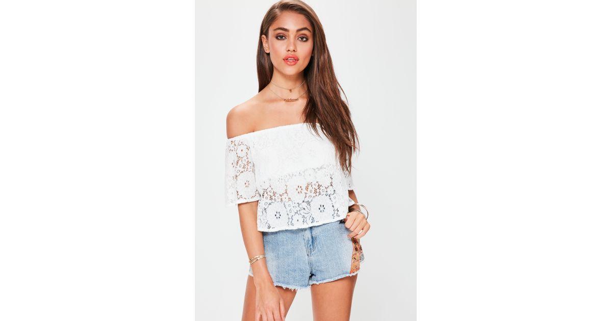 631d52eef3f69 Lyst - Missguided White Lace Bardot Crop Top in White