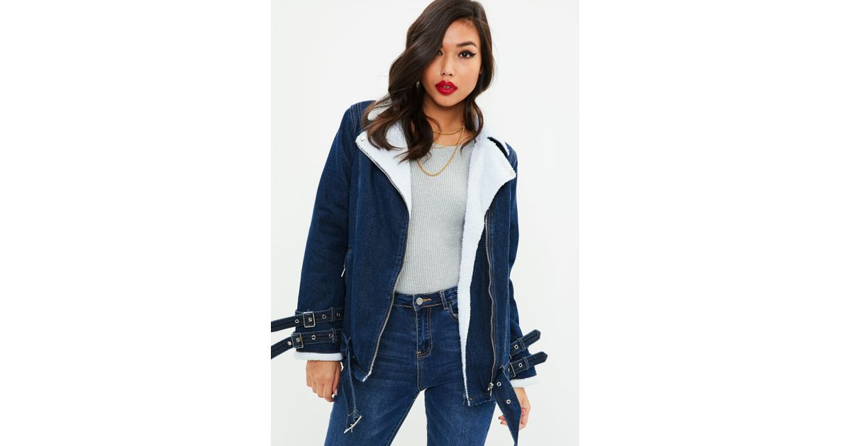 902edcb927a5d Lyst - Missguided Blue Borg Lined Denim Aviator Jacket in Blue