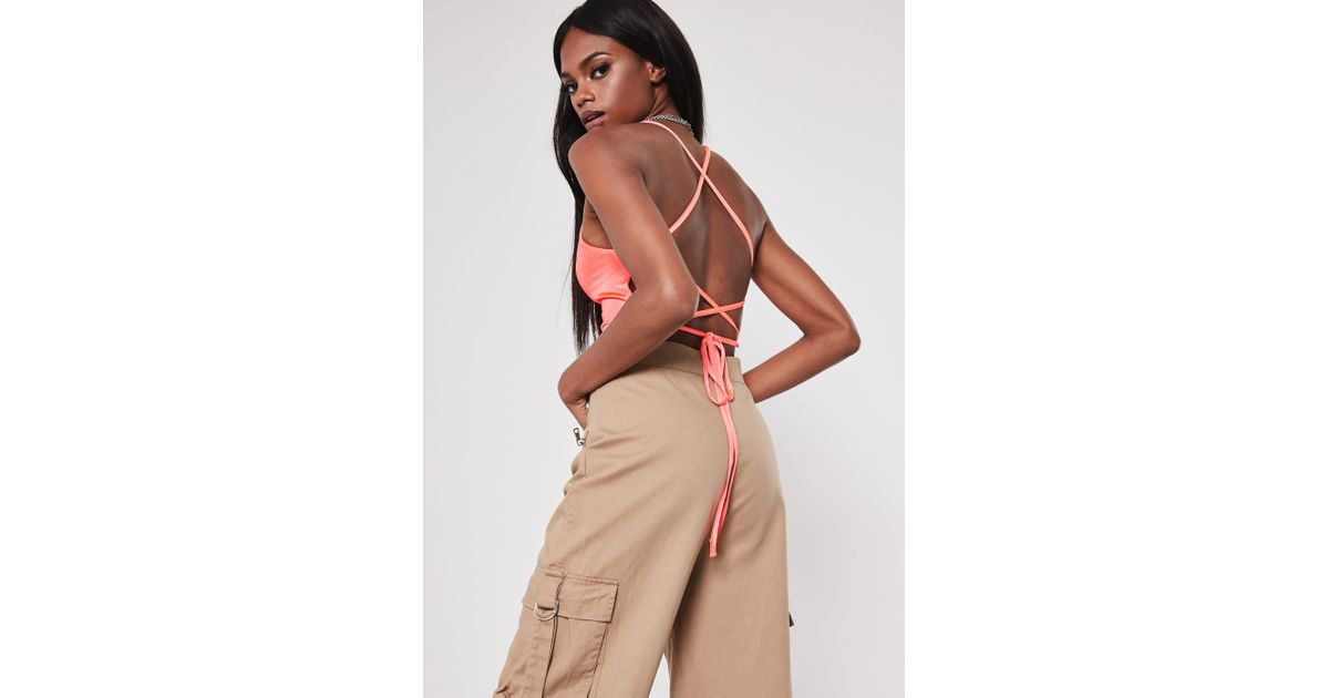 121f25a138efe9 Missguided Coral Slinky Square Neck Double Strap Bralet - Lyst