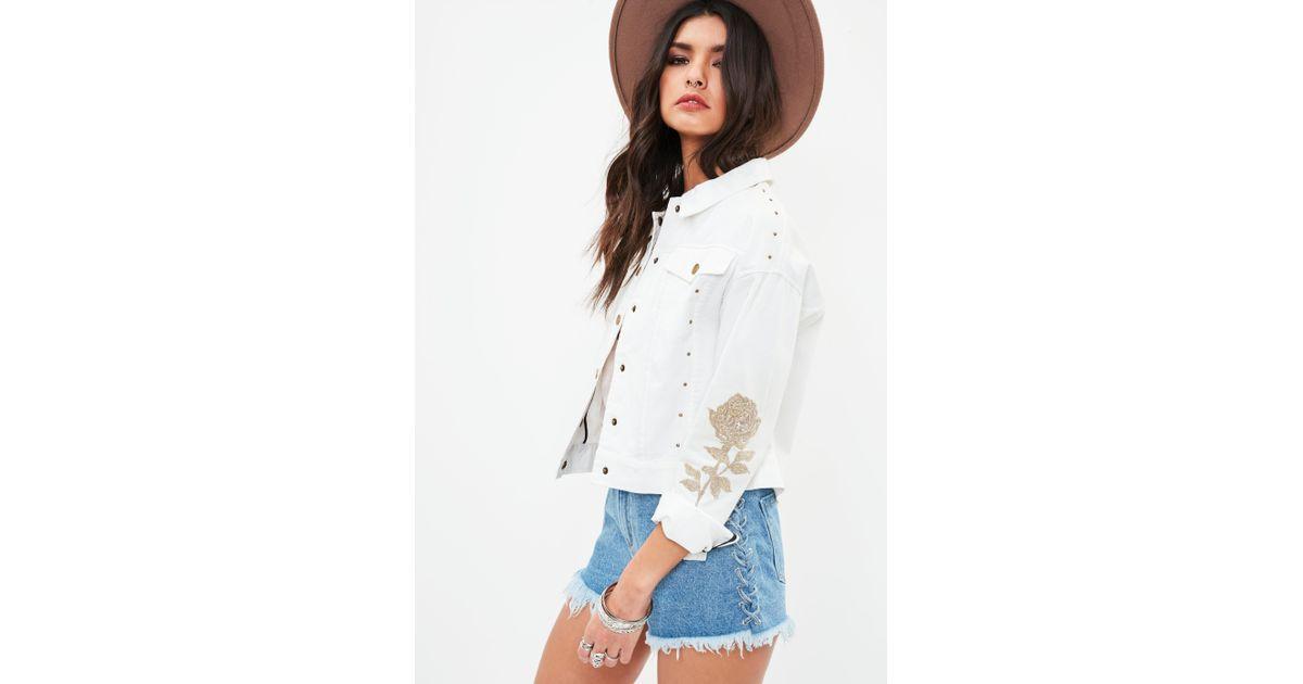 Lyst missguided white rose applique western trucker jacket in white