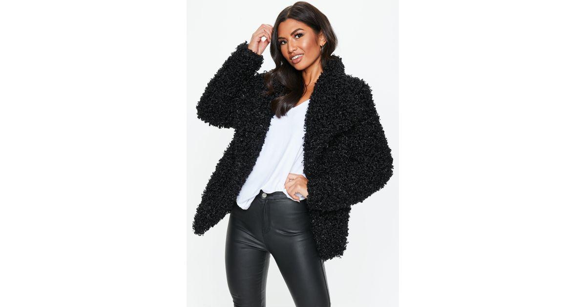 995c445b649b Lyst - Missguided Black Shaggy Waterfall Faux Fur Jacket in Black