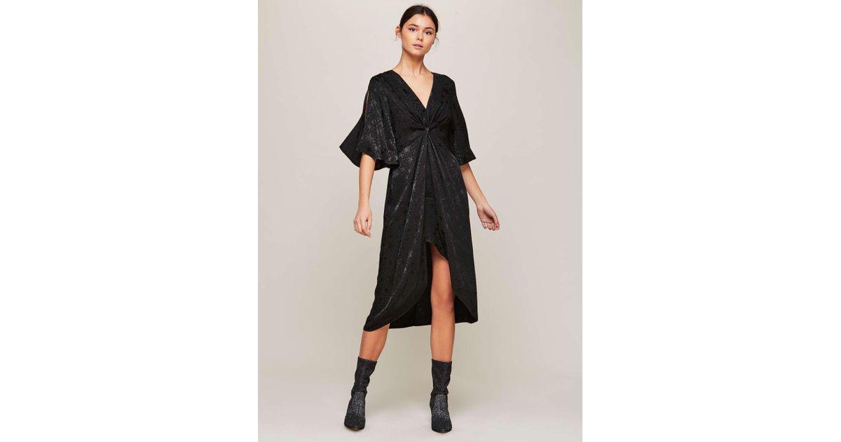 34aecae842 Lyst - Miss Selfridge Black Wrap Star Jacquard Dress in Black
