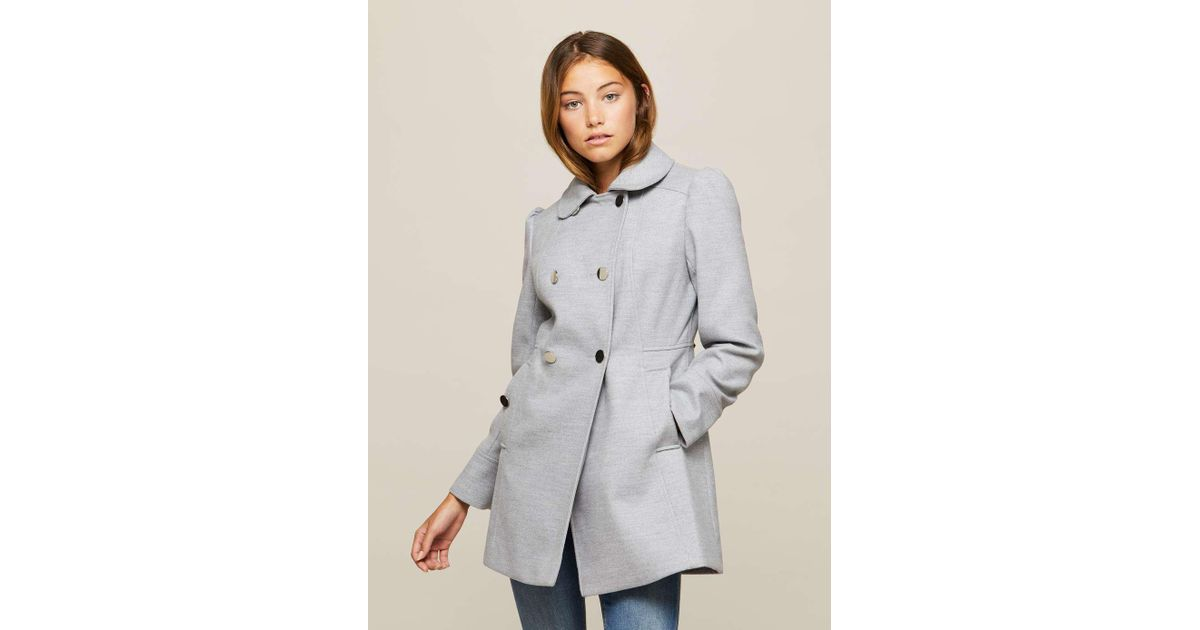 cc10024535e Lyst - Miss Selfridge Petite Grey Pea Coat in Gray