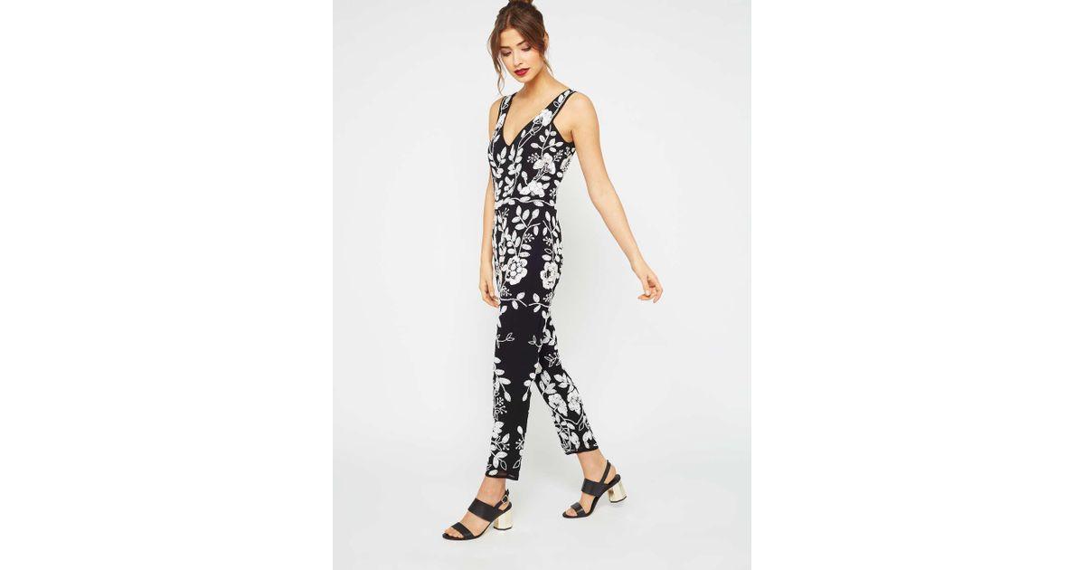 9e18f06b37a Miss Selfridge Premium Monochrome Embellished Jumpsuit in Black - Lyst