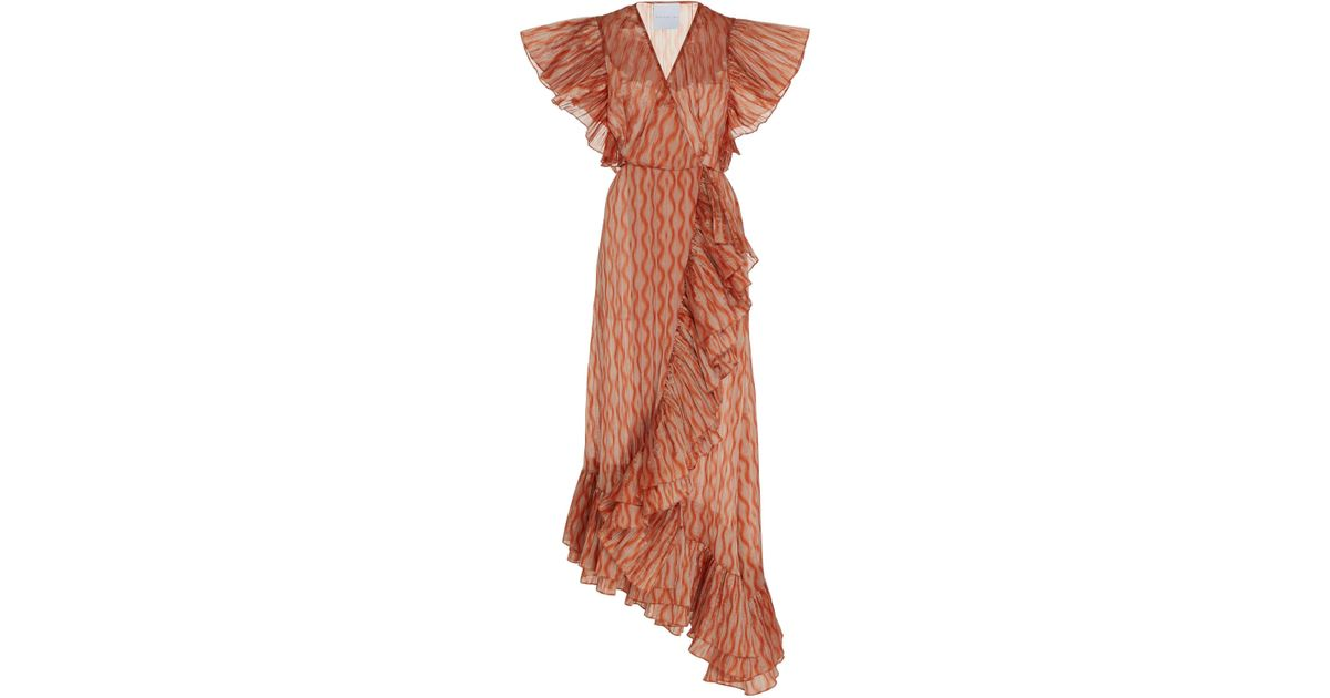 2721f8f7f5 Markarian Orange Dietrich Ruffled Satin-effect Maxi Dress