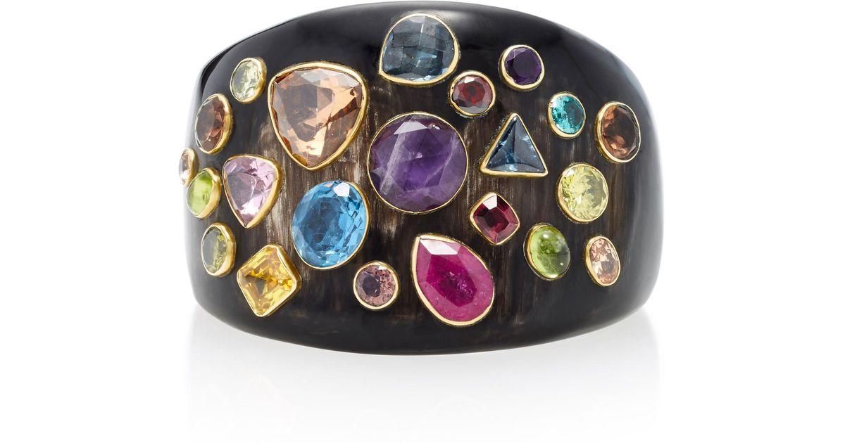 Ashley Pittman Jamii Horn Multi-Stone Bangle TZGcG