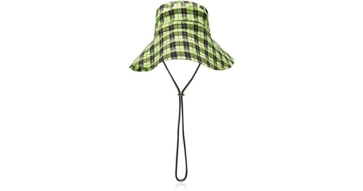 28ce13218 Ganni Yellow Plaid Seersucker Bucket Hat