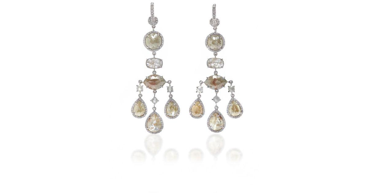 Nina runsdorf 18k White Gold And Diamond Chandelier Earrings in ...