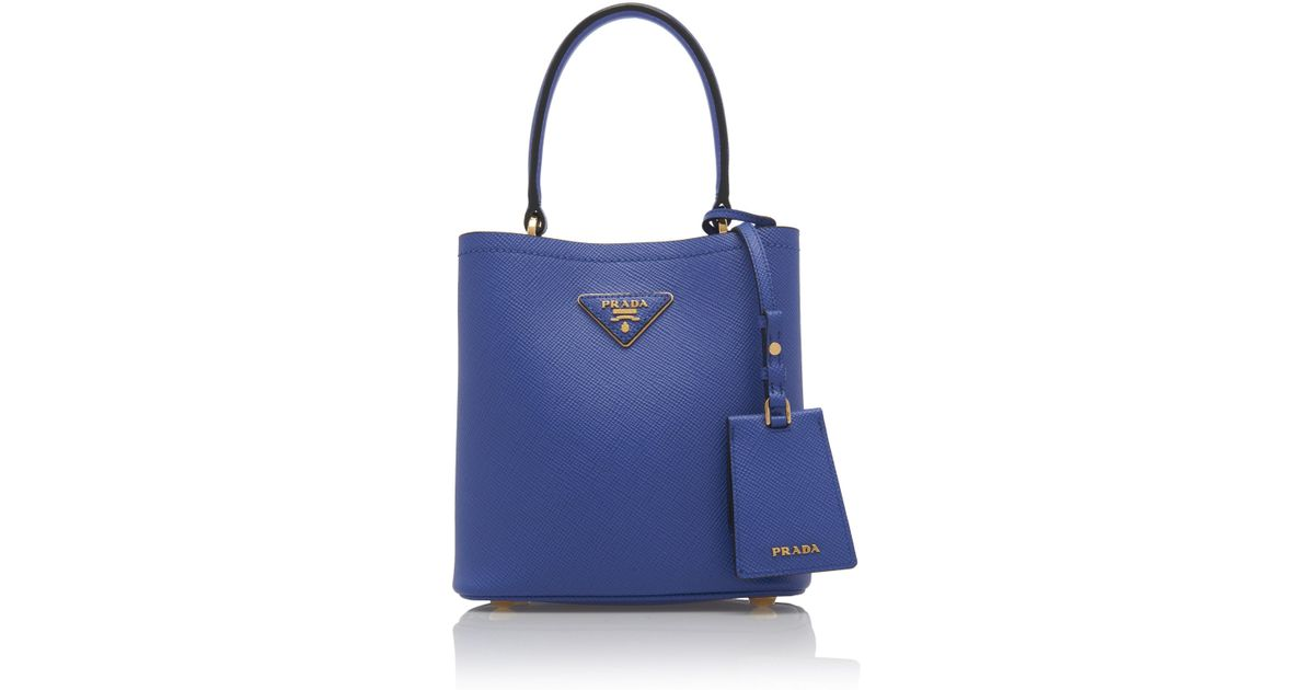 b6c0f0d95 Prada Small Saffiano Leather Double Bucket Bag in Blue - Lyst