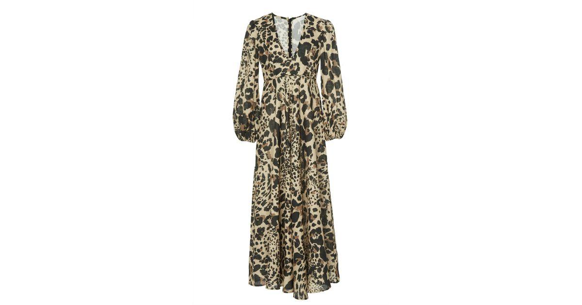 87132baa476 Zimmermann Veneto Printed Linen Maxi Dress - Lyst