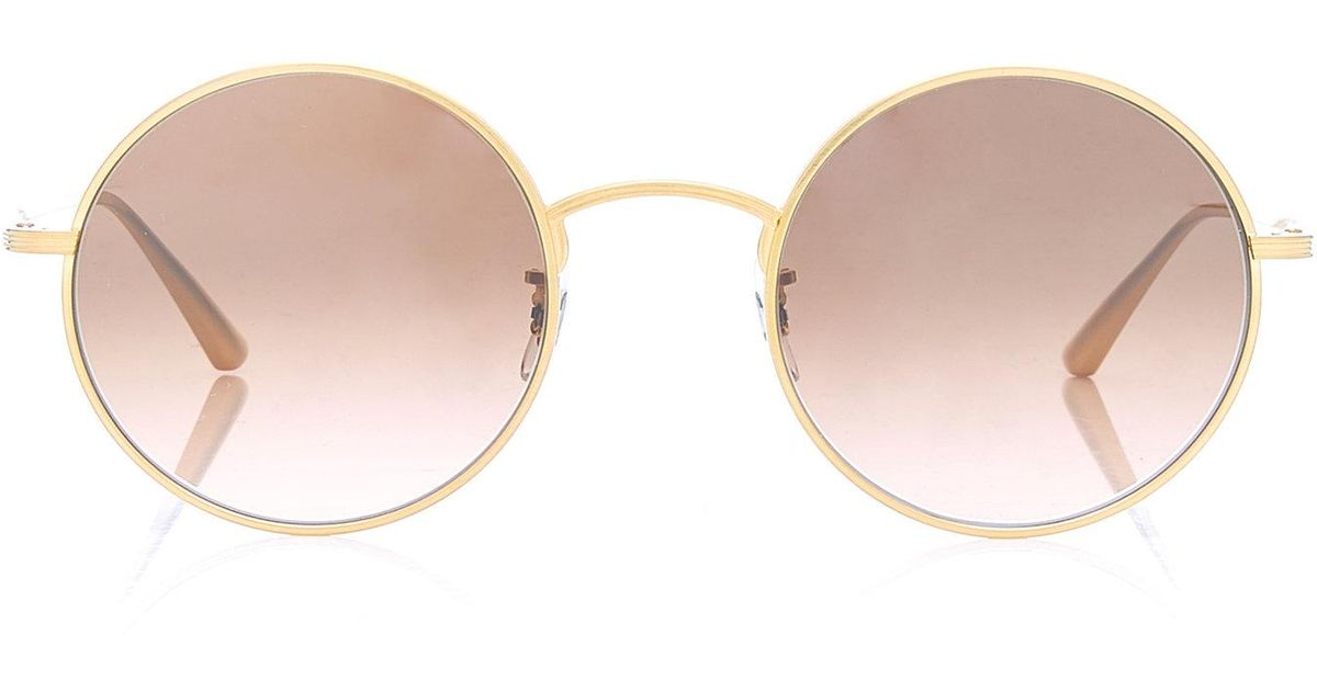d0e44d7bffa Lyst - Oliver Peoples After Midnight Round Metal Sunglasses in Pink