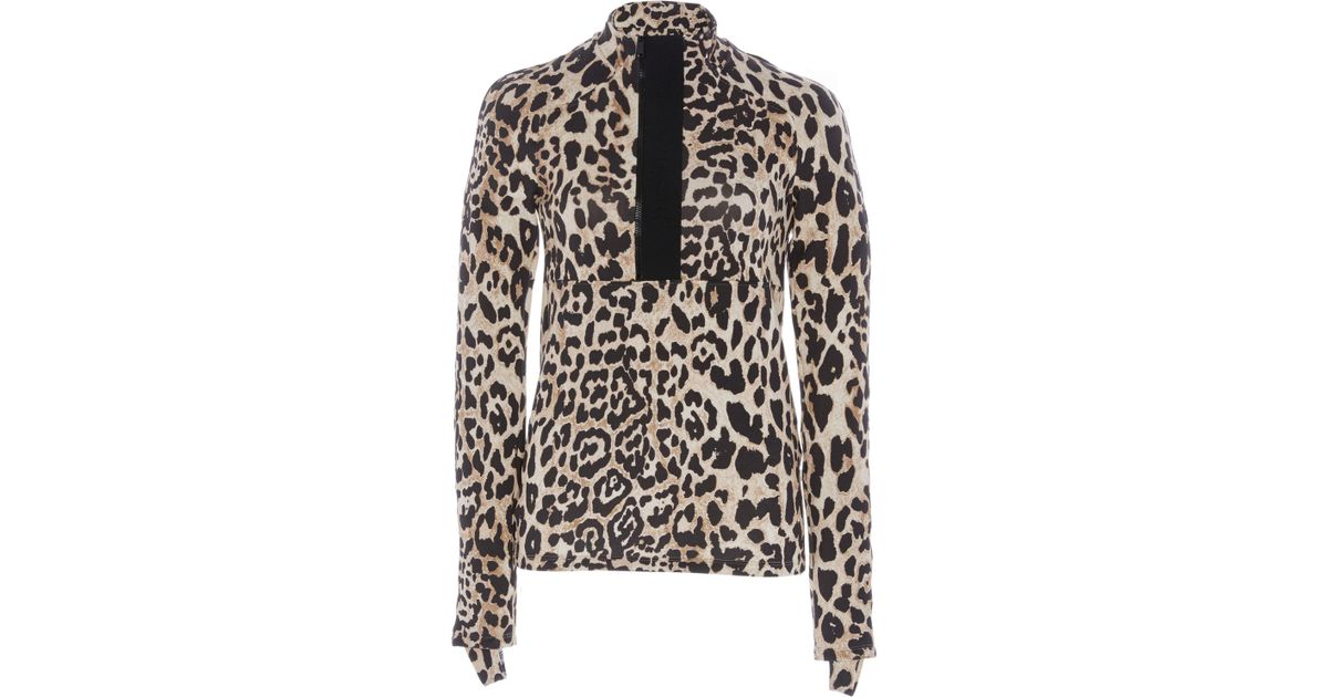 def74928 Lyst - Paco Rabanne Band Collar Leopard Blouse