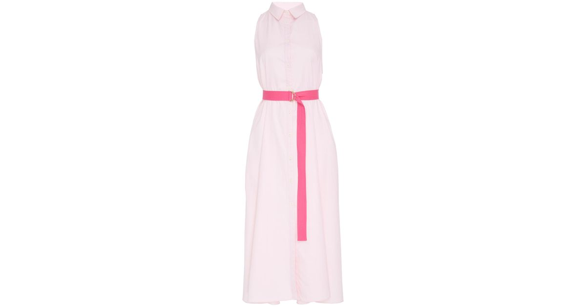 8ce20b0bd5 Lyst - MDS Stripes Sleeveless Button Down Shirtdress in Pink